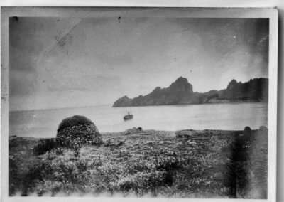Cleits, St Kilda. The Hebrides lying at anchor in the bay