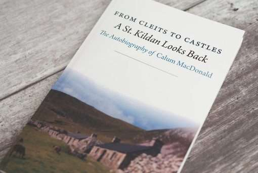 The front cover of 'From Cleits to Castles A St Kildan Looks Back The Autobiography of Calum MacDonald'