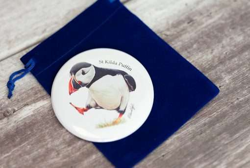St Kildan Puffin Mirror with a blue velvet pouch